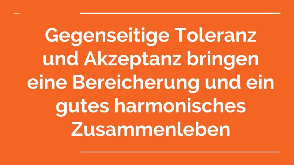 Gegenseitige Toleranz